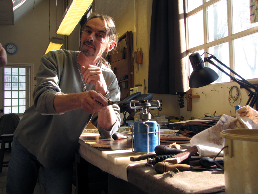 Jean Luc Parisot in his shop. Saumur, France